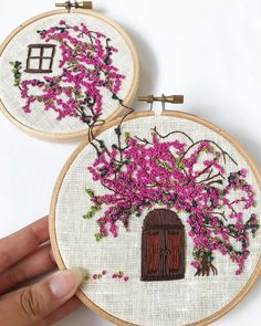 Items similar to Summer House on Etsy Embroidery Flowers Pattern, Wooden Embroidery Hoops, Couture Embroidery, Creative Embroidery, Hand Embroidery Stitches, Diy Embroidery, Flower Patterns, Felt Play Mat, Shenzhen