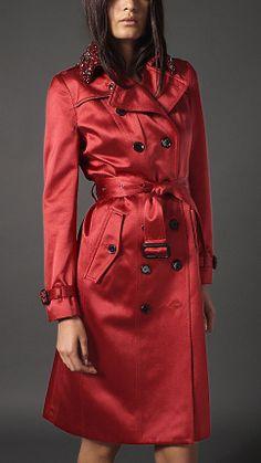 Long Gem Collar Satin Trench Coat | Burberry