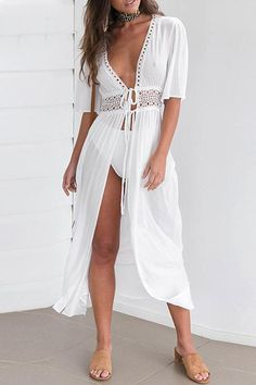 Maxi tie up front lace detail white beach cover up boho dress.