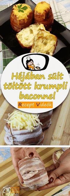 TÖLTÖTT KRUMPLI RECEPT VIDEÓVAL - töltött krumpli készítése Hamburger, Bacon, Bread, Chicken, Drink, Food, Beverage, Brot, Essen
