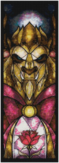 Cross stitch pattern  Disney  Beast Stained Glass by XStitchAddict