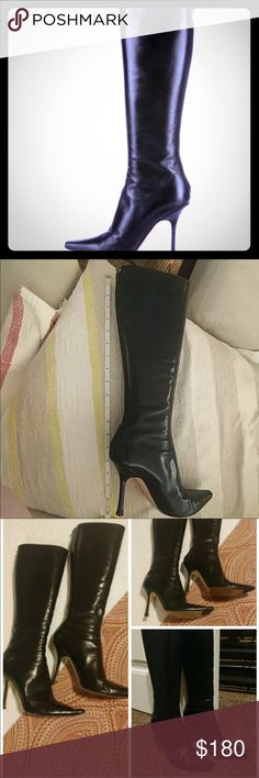 Jimmy choo boots🍁 Let's get ready for the fall ladies 🍁 Don't need to envy these sexy classic tall black leather Jimmy Choo's.  💋💋Make it yours!  😍 Has been worn but well taken care of.  In a good condition👍🏼 I closed up imperfections which looks much much better in person. Jimmy Choo Shoes Heeled Boots