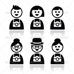 Tourist, Travelling People with Cameras Icons Set  #GraphicRiver         Vector icons set of tourists men and women isolated on white  FEATURES:   100% Vector Shapes