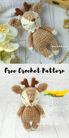 Right here you can learn how to make a cute plush amigurumi deer or fawn. Free crochet pattern by miracle_knitted_toys. Crochet Kawaii, Crochet Gratis, Crochet Amigurumi Free Patterns, Christmas Crochet Patterns, Crochet Animal Patterns, Crochet Blanket Patterns, Cute Crochet, Crochet Dolls, Crochet Stitches