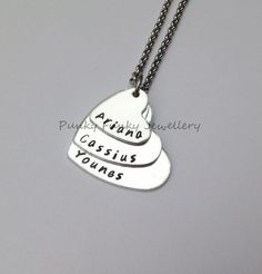 Personalised three heart stacked necklace  by PFJewelleryshop
