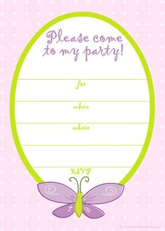 Free Printable Party Invitations: Free Pink Butterfly Girls Birthday Invite Art