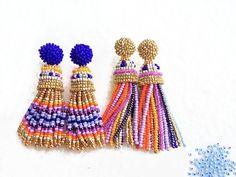 Multicolour Long Beaded Tassel Earrings. Earrings in Oscar de