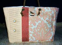 Purse Tote Measures: 8 High x 10 Wide x 4 Deep. Inside lined. No pockets inside or out. Velcro flap-over closure. Facebook.com/RayDesigns