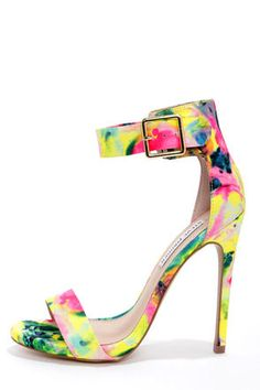 THESE ARE SO PRETTY! champagne taste with lemonade pockets :( Steve Madden Marlenee Floral Print Ankle Strap Heels at LuLus.com!