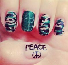 Camo Peace Nails