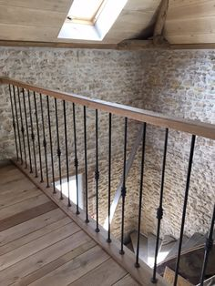 Round bars at Wrought Iron. Interior Stair Railing, Balcony Railing Design, Staircase Design, Indoor Railing, Deck Railings, Pole Barn Homes, House Stairs, Metal Walls, Stairways