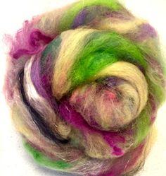 Hand Carded Art batts Tussah silk Merino Ingeo by YummyYarnsUK