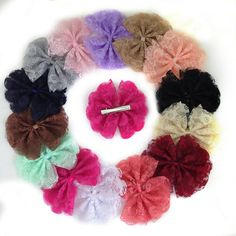 XIMA 14pcs 4inch Lace Flower Hair Clip Lace with Alligator Clip for Girls >>> Read more reviews of the product by visiting the link on the image.