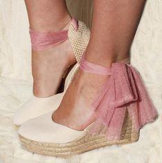 Ivory Swan TULLE Tulle Wedge Platform Lace Up Espadrilles Ivory Wedding Bridal shoes pink party bohochic boho graduation nude shoes