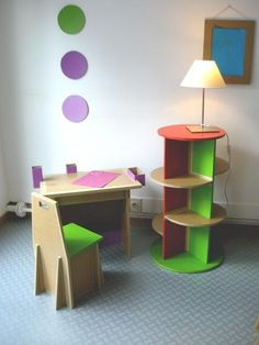 cardboard chair table and light stand