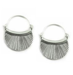 Sterling Silver Tribal Hoop EarringsEthnic Boho by SilverShapes