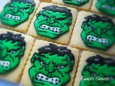Incredible Hulk cookies (thanks Sugarbelle)