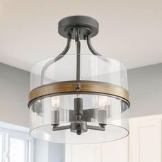 The Gray Barn Windy Knob Floush Mount with Clear Glass Shade Grey - Semi Flush Ceiling Lights - Ideas of Semi Flush Ceiling Lights Clear Light Bulbs, Semi Flush Lighting, Rustic Flush Mount Lighting, Bedroom Lighting, Bedroom Ceiling, Ceiling Decor, Basement Lighting, Hallway Lighting, Modern