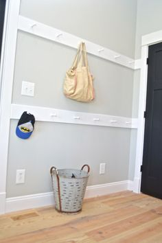 Pin this great organization idea for your mudroom, garage or entry: DIY Shaker peg rails are a quick and easy project to keep your space neat. Check out the step-by-step tutorial!
