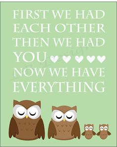 Twin Owl Nursery Quote Print  8x10 by LJBrodock on Etsy, $8.00