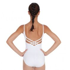 V-Neck Camisole Leotard (in White) Best seller 90% Cotton, 10% Lycra® Spandex Moderate V-front Multi-strap back Ballet leg line Full front lining Capezio Other
