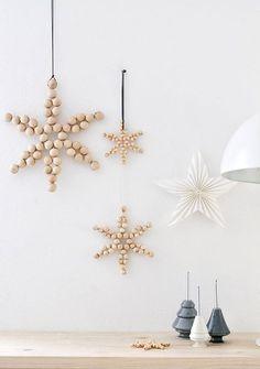 Wood bead snowflakes
