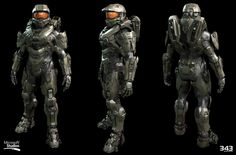 Halo Master Chief Textures and materials by Kyle Hefley Hi-Res Techsuit by Sean Binder Hi-Res Armor and AR by Dan Sarkar Low Poly by Matt Aldridge Master Chief Armor, Master Chief Petty Officer, Halo Master Chief, Halo 5, Halo Game, Halo Tattoo, John 117, 343 Industries, Halo Armor