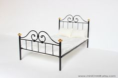 Miniature Metal Doll Bed  in 1/6 scale Blythe Barbie by miniCHAIR, $69.00