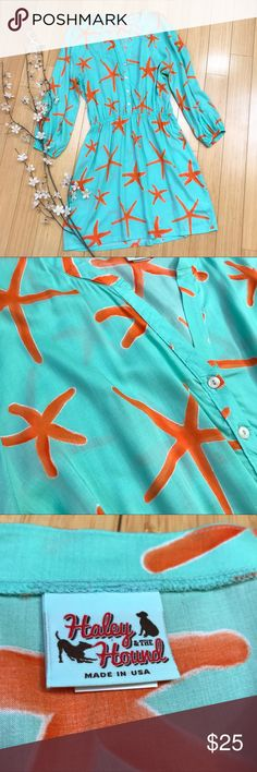 Haley & the Hound aqua starfish dress, L. Haley & the Hound aqua and orange starfish shirt dress, size large. Lightweight, breezy, fun. Perfect condition! Bust measures 23 inches across, length 37 inches, hips about 24 inches across, sleeve 20 inches from a drop shoulder. Modeled on a size small mannequin, but it gives the idea. Perfect for your next vacation and for summer fun! Haley & the Hound Dresses