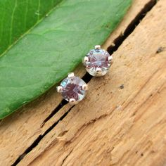 Alexandrite Earrings in 14k White Gold, 3mm Studs with Laboratory Grown Gems - Free Gift Wrapping