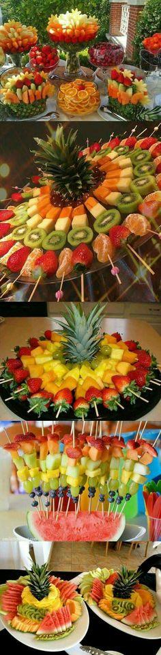 decoração com frutas - Frutti Decorati Fruit Decorations, Food Decoration, Party Snacks, Appetizers For Party, Deco Fruit, Fruit Buffet, Fruit Creations, Party Food Platters, Creative Food Art