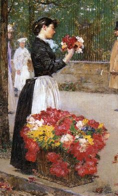 """Flower Girl"" by Frederick Childe Hassam (1859-1935), American Impressionist painter."