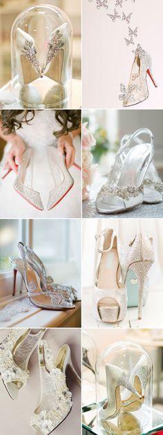 15 Stunning Cinderella-Inspired Wedding Shoes - Romantic Cinderella-like bridal shoes!