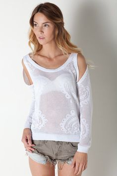 grandmas lace reinvented | Long Sleeve Sweater in White by TOWNSEN for $157.00
