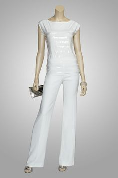 "So chic & straight from Paris ~ ""Songbird"" white lightweight jersey with tone on tone sequin stripes & paired with our ETCETERA ""Tonic"" white wide-leg pant."
