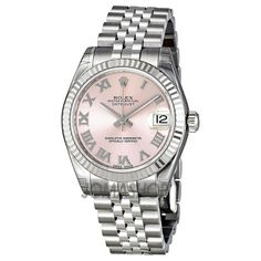 Rolex Datejust Pink Dial Automatic 18kt White Gold Bezel Stainless Steel Watch 178274