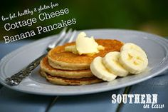 Gluten Free Banana Cottage Cheese Pancakes Recipe - healthy thick and fluffy pancake recipe - gluten free, low fat, high protein, sugar free, clean eating friendly