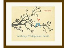Love Birds Cream Personalized Print for Couples. - TheWeddingMile.com Newlywed Gifts, Love Birds, Newlyweds, Wedding Day, Gift Ideas, Bridal, Cream, Couples, Crafts