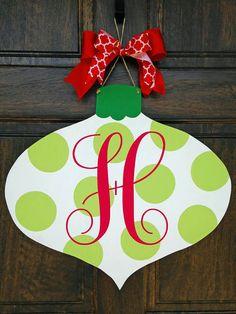 Monogrammed Christmas Door Hanger by KnockKnockRVA on Etsy
