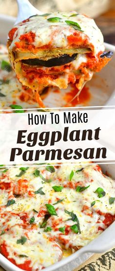 Eggplant Parmesan is an Italian classic dish features thin breaded and baked slices of eggplant, delicious homemade pasta sauce, and lots of mozzarella cheese. Eggplant Dishes, Eggplant Parmesan, Eggplant Recipes, Entree Recipes, Side Dish Recipes, Dinner Recipes, Dinner Ideas, Healthy Dishes, Savoury Dishes