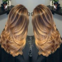 balayage caramel hair, great way to lighten brunette hair for summer…