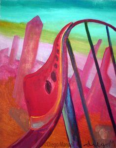 tren rojo 2, acrylic on canvas, 28 x 22 cm., year 2007. Venta de pinturas sobre trenes. Paintings of trains for sale. venda de pinturas de trens.
