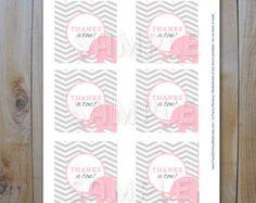 Elephant Baby Shower Favor Tags / Pink Elephants / DIY Printable / Instant Download  PDF 61439