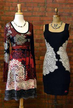 Knit Mixed Media Dress and Bandage Dress by Desigual.