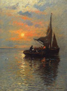 Wilhelm von Gegerfelt (1844-1920) - Fishing boats at dawn