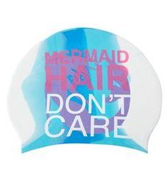 Sporti Mermaid Long Hair Don't Care Silicone Swim Cap at SwimOutlet.com – The Web's most popular swim shop