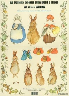 Vintage Bunny Rabbit and Friends Paper Dolls for Collage and Mixed media. Embossed and Gorgeous Collectors Paper Dolls highly detailed. Beatrix Potter Illustrations, Beatrice Potter, Peter Rabbit And Friends, Peter Rabbit Party, Paper Animals, Embossed Paper, Rabbit Art, Vintage Paper Dolls, Paper Toys