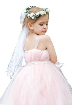 Girls Bowknot Rhinestone Flower Headband Hair Wreath Floral Crown Veil | Winter Wedding Ideas * Click on the image for additional details. (This is an affiliate link)