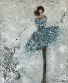 Figurative Painting dancer woman textured So by SwallaStudio
