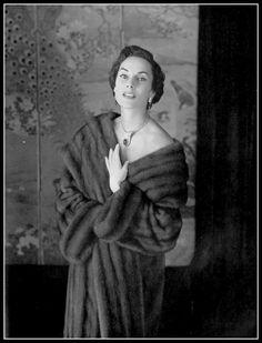 Susanne Erichsen in mink coat by Maurice Kotler, photo by Georges Saad, 1954